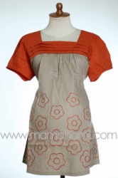 baju menyusui pendek mawar ceplok orange  SD 185  large